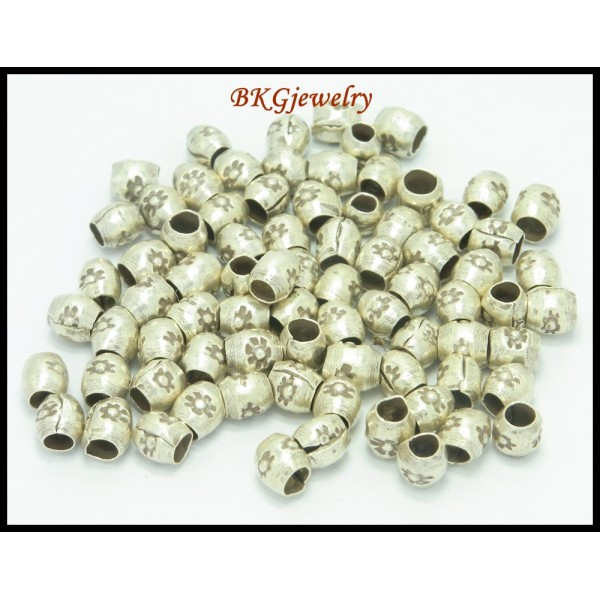 Hill tribe silver tube beads wholesale jewelry