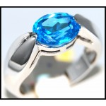 Unique Gemstone Blue Topaz Ring 14K Yellow Gold [RR0045]