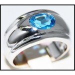 Eternity Gemstone Blue Topaz Ring 14K Yellow Gold Jewelry [RR0074]