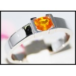 14K White Gold Solitaire Ring Yellow Sapphire Gemstone [RR0053]
