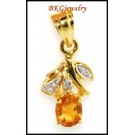 Unique Diamond Citrine Gemstone Pendant 18K Yellow Gold [P0056]