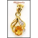 Unique Diamond Citrine Pendant 18K Yellow Gold Gemstone [P0062]