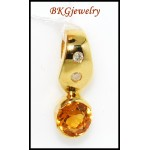 Natural Diamond Gemstone Citrine Pendant 18K Yellow Gold [P0063]