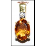 Citrine Jewelry Diamond Pendant Gemstone 18K Yellow Gold [P0135]