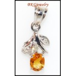 18K White Gold Diamond Natural Citrine Gemstone Pendant [P0055]