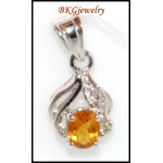 18K White Gold Citrine Pendant Gemstone Diamond Jewelry [P0061]