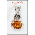 Unique Citrine Pendant Diamond Gemstone 18K White Gold [P0058]