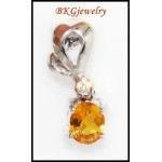 Citrine Diamond Genuine Pendant Gemstone 18K White Gold [P0053]