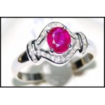 Diamond and Genuine Ruby Solid 18K White Gold [RS0127]