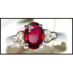 Genuine Oval Ruby Solitaire Ring and Diamond Solid 18K White Gold [RS0165]