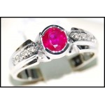 18K White Gold Natural Ruby and Diamond Ring [RS0194]