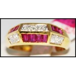 Genuine Ruby and Diamond Solid 18K Yellow Gold [R0019]