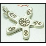 3x Jewelry Findings Star Eye Engrave Hill Tribe Silver Charms [KC064]