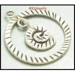 1x Jewelry Findings Hill Tribe Silver Wholesale Circle Pendant [KC029]
