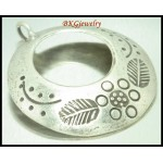 1x Jewelry Supplies Engrave Hill Tribe Silver Circle Pendant [KC036]