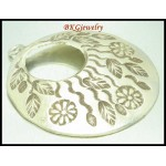 1x Jewelry Findings Flower Engrave Pendant Hill Tribe Silver [KC038]