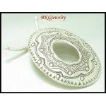 1x Oval Karen Engrave Findings Toggles Thai Hill Tribe Silver [KH012]