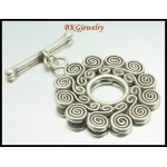 1x Jewelry Findings Coil Toggles Hill Tribe Silver Wholesale [KH168]
