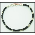 Waxed Cotton Cord Hill Tribe Silver Handmade Bead Bracelet [KH046]