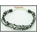 Waxed Cotton Cord Hill Tribe Silver Bracelet Jewelry Handmade [KH054]