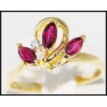 Flower Marquise Ruby and Diamond Ring Solid 18K Yellow Gold [R0052]