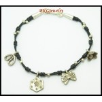 Bracelet Waxed Cotton Cord Hill Tribe Silver Charm Handcraft [KH097]