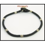 Handcrafted Waxed Cotton Cord Bracelet Hill Tribe Silver Bead [KH163]