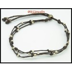 Hill Tribe Silver Waxed Cotton Cord Jewelry Handmade Bracelet [KH141]