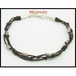 Waxed Cotton Cord Bracelet Handmade Jewelry Hill Tribe Silver [KH164]