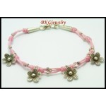 Waxed Cotton Cord Bracelet Hill Tribe Silver Flower Charms [KH101]