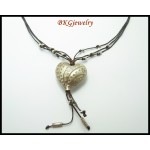 Waxed Cotton Cord Handmade Necklace Heart Hill Tribe Silver [KH089]