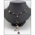 Handmade Waxed Cotton Cord Hill Tribe Silver Bead Necklace [KH173]