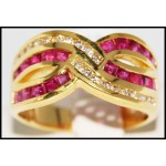 18K Yellow Gold Square Ruby and Diamond Ring [R0077]