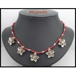 Waxed Cotton Cord Necklace Hill Tribe Silver Flower Handcraft [KH169]