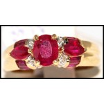 18K Yellow Gold Diamond and Ruby Stunning Ring [R0079]