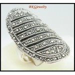 Sterling Silver Electroforming Fashion Marcasite Ring [MR125]