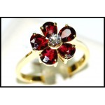 Flower Ruby Ring and Diamond Solid 18K Yellow Gold [RF0001]