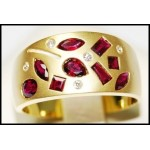 18K Yellow Gold Multi Ruby Cut and Diamond Band Ring [RF0004]