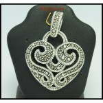 Sterling Silver Electroforming Fashion Marcasite Heart Pendant [MP031]