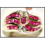 Genuine Diamond and Ruby Ring With 18K Yellow Gold [RF0007]