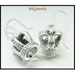 Electroform Sterling Silver Earrings Crown Jewelry [ME027]