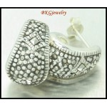 925 Sterling Silver Electroform Jewelry Marcasite Earrings [ME124]