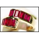 18K Yellow Gold Diamond and Baguette Cut Ruby Ring [RQ0001]