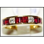 Diamond and Square Ruby Band Ring Solid 18K Yellow Gold [RQ0003]