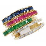 Stack Rings Sapphire Ruby Emerald and Diamond 18K Yellow Gold [RT0008]