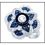0.29 Carat Center Diamond 18K White Gold Blue Sapphire Antique Ring [RA0011]