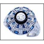 0.34 Carat Round Diamond Blue Sapphire Solid 18K White Gold Antique Ring [RA0012]