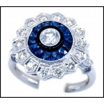 0.24 Carat Diamond and Blue Sapphire Accents 18K White Gold Antique Ring [RA0014]