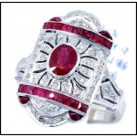 18K White Gold Natural Diamond Accents Oval Ruby Vintage Ring Style [RA0007]