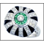 0.16 Carat Diamond Solid 18K White Gold Onyx Emerald Antique Rings [RA0013]